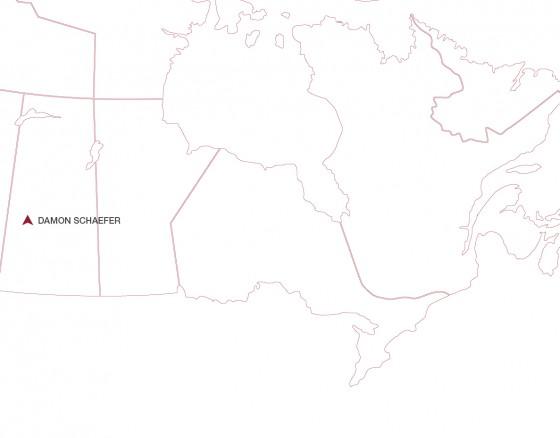 Damon Schaefer location on a map. Located in Saskatchewan Canada