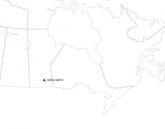 Greg Smith Location shown on a map. Located in south Manitoba.