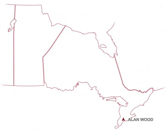 Alan Wood's map location in South Western Ontario