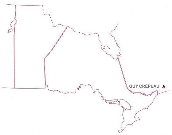 Guy Crépeau location in South Western Quebéc