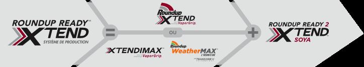 Graphique montrant les logos du caractère et des herbicides du système sous forme de formule mathématique. Système de production Roundup Ready XTEND = Roundup XTEND avec la technologie VaporGrip (ou XTENDIMAX avec la technologie VaporGrip, herbicide Roundup WeatherMAX avec la technologie Transorb II) + soya Roundup Ready 2 XTEND.
